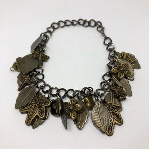Vintage leaf charm bracelet